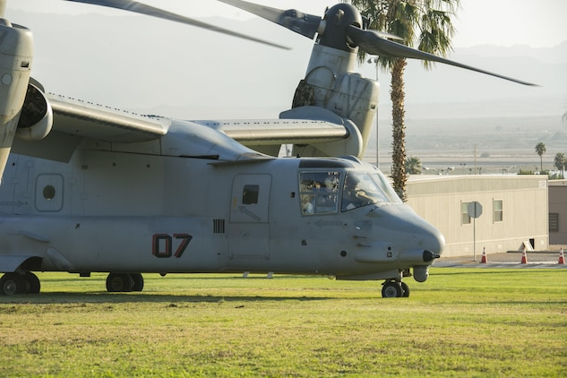 A MV-22 Osprey prepares to take off at Torrey Gray Field aboard the Marine Corps Air Ground Combat Center Twentynine Palms, Calif., Oct. 13, 2017. The landing was conducted as part of a non-combatant evacuation operation exercise in order to prepare Marines for the evacuation of non-essential U.S. citizens and Department of Defense personnel from dangerous situations overseas. (U.S. Marine Corps photo by Lance Cpl. Isaac Cantrell)