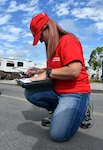 Anita Bradburn, a quality assurance inspector with the U.S. Army Corps of Engineers, Huntington District, draws a sketch during a temporary housing site inspection in Everglades City, Fla.