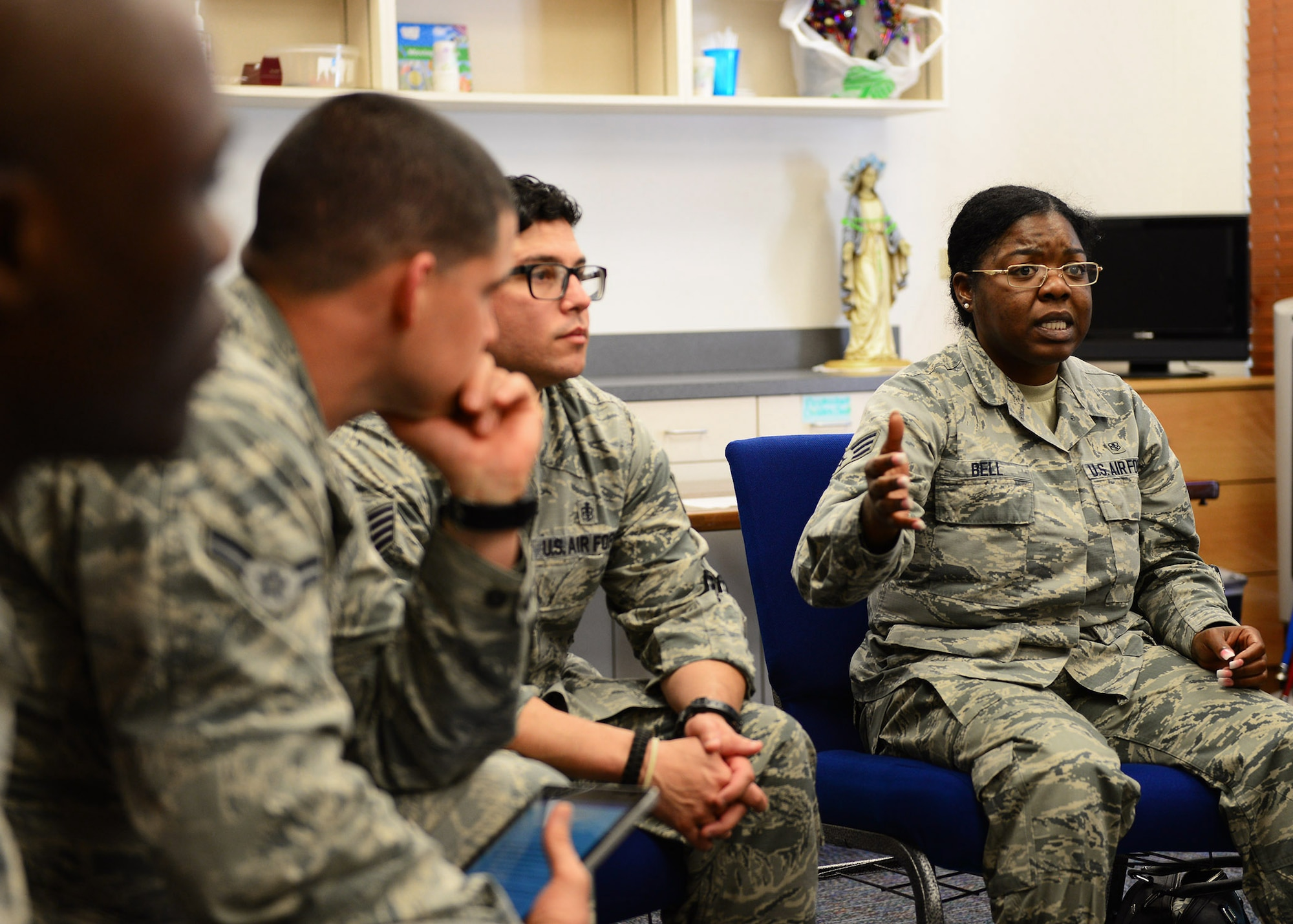 U.S. Air Force Senior Airman June Bell, 47th Medical Group troop and a participant of the Celebrate Life panel, shares her story during a break-out group discussion before present at the annual Senior Leaders Conference at Joint Base San Antonio-Randolph, Texas Oct. 19, 2017. The presentations were the culmination of several days of discussions during the conference in which Airmen were divided into three groups and asked to get to know one another by telling their stories and drawing from one another's experiences. (U.S. Air Force photo by Staff Sgt. Chip Pons)