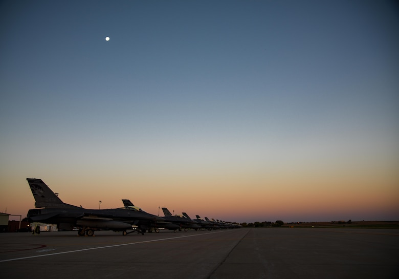 175th Fighter Squadron F-16 Fighting Falcons are parked on the flight line during the Phase 1 of the Attack Response Exercise (ARE) Oct. 8, 2017, Joe Foss Field, S.D.