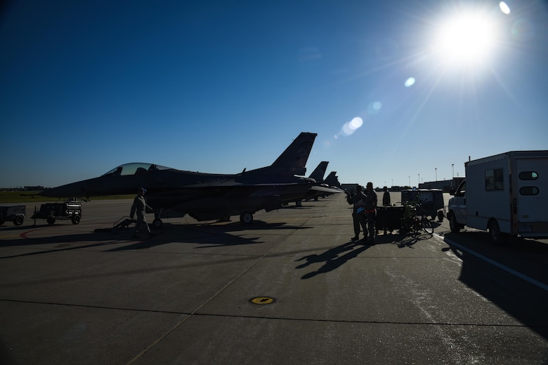 114th Aircraft Maintenance Airmen prepared aircraft during the Phase 1 of the Attack Response Exercise (ARE) Oct. 8, 2017, Joe Foss Field, S.D.