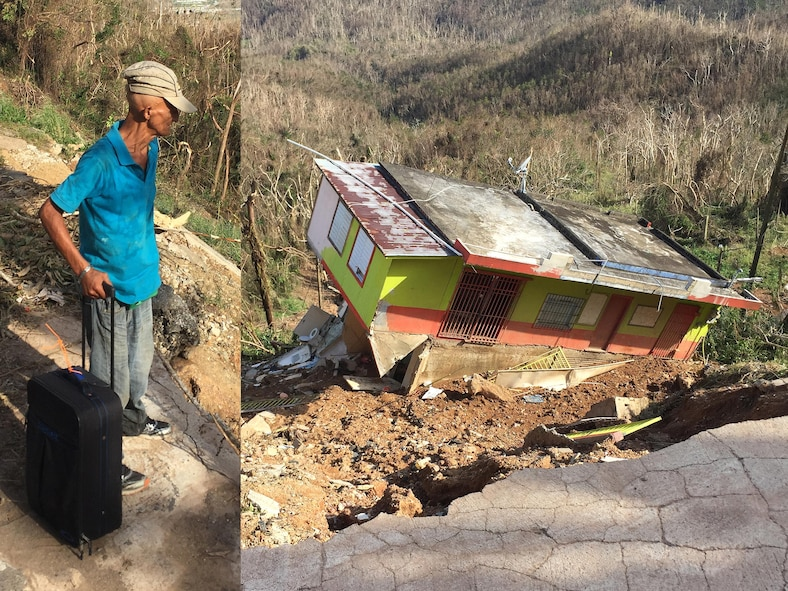 A man looks down at his collapsed house while holding a suitcase in Cayey, Puerto Rico. After heavy rainfall and strong winds from Hurricane Maria, the foundation underneath this house collapsed causing the structure to tumble down the hill.