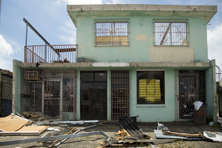 A destroyed, roofless house sits abandoned in Caguas, Puerto Rico, Oct. 1, 2017. Many citizens lost their homes after Hurricane Maria made landfall September 20, 2017.