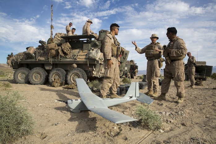 Marines with 3rd Light Armored Reconnaissance Battalion, 1st Marine Division, tested an Unmanned Aerial System, also known as the RQ-20 Puma, during part of the Battalion's Marine Combat Corps' Readiness Evaluation at Marine Corps Air Ground Combat Center Twentynine Palms, Calif., Mar. 13, 2017.