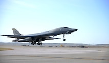 A B-1 Bomber takes off from Ellsworth Air Force Base, S.D., to participate in Green Flag exercise 18-1 on Oct. 18, 2017. Green Flag is a joint training exercise held 10 times a year at Nellis Air Force Base, Nev. that tests aircrew and maintainer's warfighting capabilities. (U.S. Air Force photo by Airman 1st Class Thomas Karol)