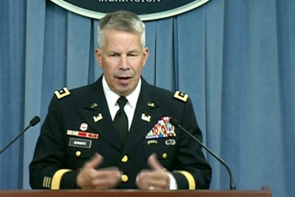Army Corps of Engineers Commander Lt. Gen. Todd T. Semonite briefs reporters at the Pentagon on hurricane relief efforts in Florida, Puerto Rico and the Virgin Islands at the Pentagon, Oct. 20, 2017. Screenshot via Defense.gov