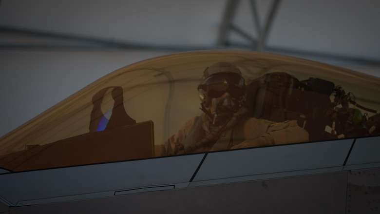 U.S. Air Force Lt. Col. Christian Bergtholdt, 27th Fighter Squadron director of operations, taxis on the flightline at Joint Base Langley-Eustis, Va., Oct. 19, 2017.