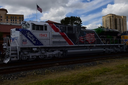 "Union Pacific locomotive No. 1943, ""The Spirit,"" parked in front of Sunset Station in San Antonio Oct. 19, 2017 after its unveiling ceremony.  The engine is painted to salute Veterans and serving members of the military."
