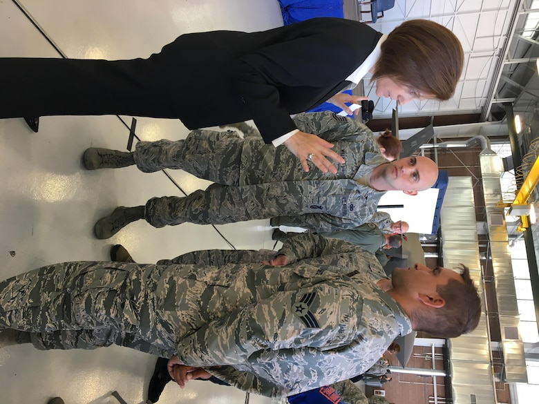 Tech. Sgt. Benjamin Willard meets Senator Catherine Cortez Masto.