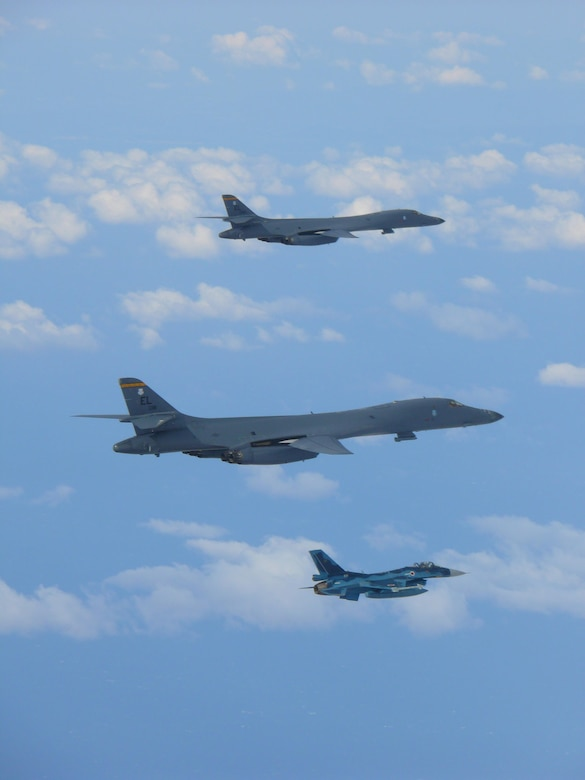 U.S. Air Force B-1s conduct flyover during Seoul ADEX