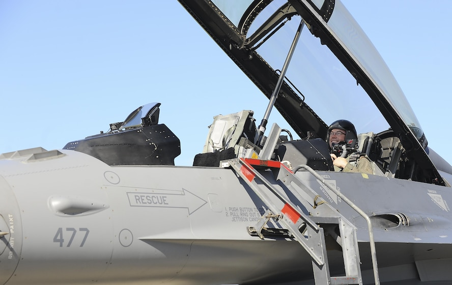 Airmen receive familiarization flights in an F-16 Fighting Falcon during aviation training relocation.