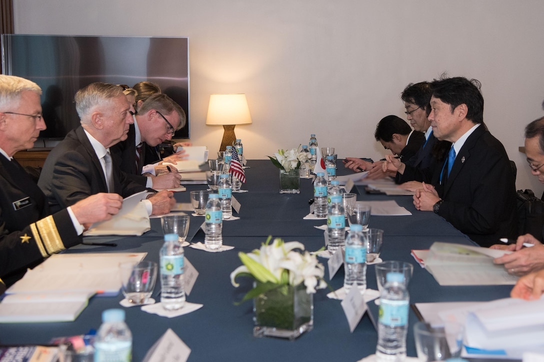 Defense Secretary Jim Mattis meets with the Japanese defense minister.
