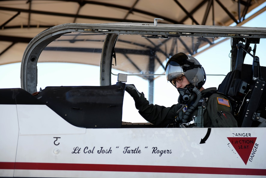 Second Lt. William Groff, 37th Flying Training Wing student pilot, prepares for a solo flight Oct. 11, 2017, on Columbus Air Force Base, Mississippi. Students complete solo flights in order to progress through the Specialized Undergraduate Pilot Training course; however students will fly with an instructor pilot a majority of their flights. (U.S. Air Force photo by Airman 1st Class Keith Holcomb)