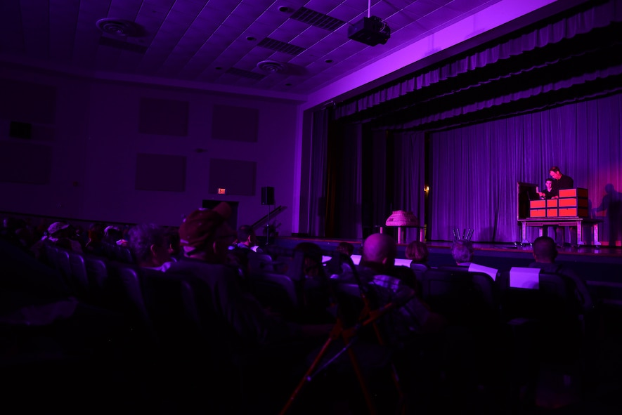 Jason Michaels, illusionist and magician, performs at the Kaye Auditorium Oct. 13, 2017, on Columbus Air Force Base, Mississippi. Michaels has performed for numerous bases across the world, even touring in the Middle East to provide entertainment to troops down range. (U.S. Air Force photo by Airman 1st Class Keith Holcomb)