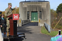 U.S. Army Corps of Engineers, Baltimore District, Commander Col. Ed Chamberlayne discusses the flood risk management benefits that Whitney Point Dam in New York has provided to downstream communities over the years at a ceremony in front of the dam's gatehouse commemorating its 75th anniversary Saturday October 21, 2017. It's estimated that the dam has prevented more than $726 million in damages to downstream communities, including Binghamton, N.Y., since being completed in 1942. (U.S. Army photo by Malcolm Jones)