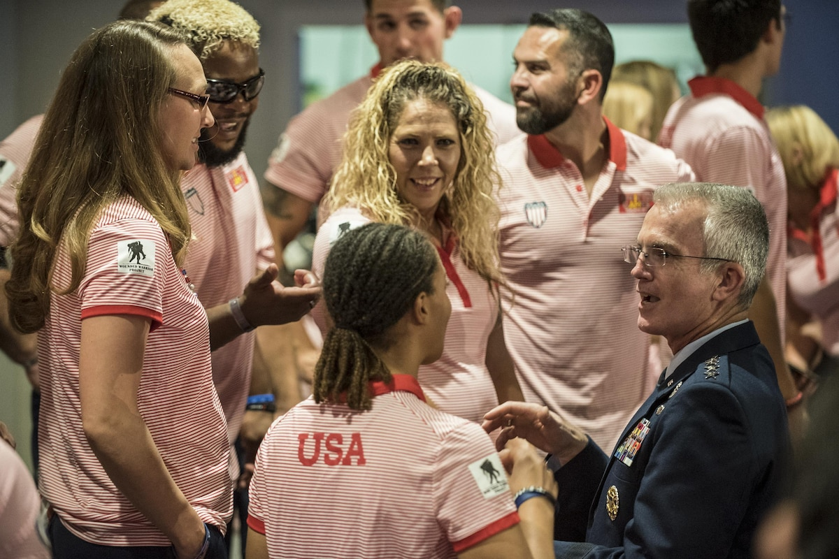The vice chairman of the Joint Chiefs of Staff talks with U.S. athletes at the Invictus Games