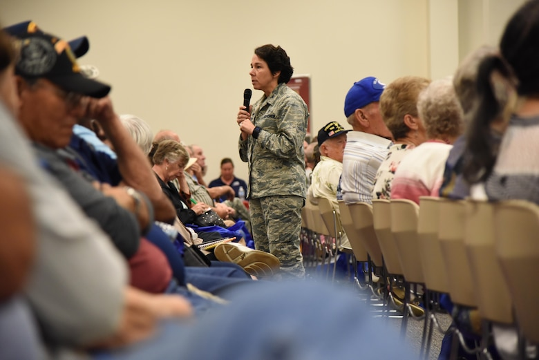 Col. Jeannine Ryder, 81st Medical Group commander, briefs on the Keesler Medical Center capabilities during Retiree Appreciation Day at the Roberts Consolidated Aircraft Maintenance Facility Oct. 20, 2017, on Keesler Air Force Base, Mississippi. The annual event, sponsored by the Keesler Retiree Activities Office, included more than 20 displays with information pertinent to retirees and a free lunch. (U.S. Air Force photo by Kemberly Groue)