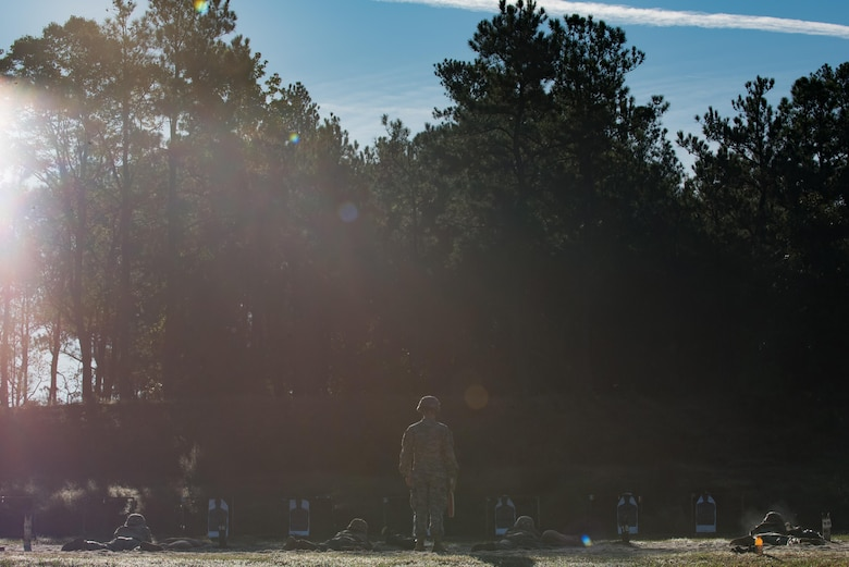 U.S. Army Soldiers shoot M9 pistols during the German Armed Forces Proficiency Badge evaluation at Joint Base Langley-Eustis, Va., Oct. 20, 2017.