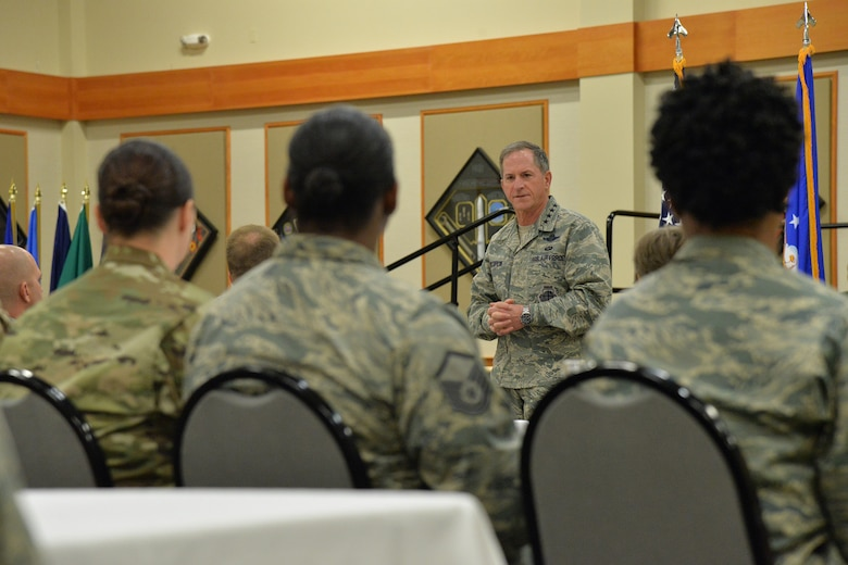 Air Force Chief of Staff Gen. David L. Goldfein speaks with squadron leadership at the Grizzly Bend during his visit to Malmstrom Air Force Base, Mont., Oct. 20, 2017.