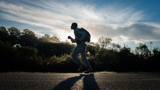 A U.S. Army Soldier participates in the ruck portion of the German Armed Forces Proficiency Badge evaluation at Joint Base Langley-Eustis, Va., Oct. 19, 2017.