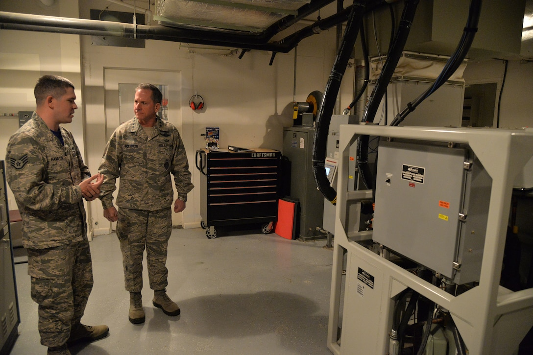 Chief of Staff of the Air Force Gen. David L. Goldfein and Staff Sgt. Geoff Hamilton, 10th Missile Squadron facility manager, tour a missile alert facility Oct. 20, 2017, located in the missile complex of Malmstrom Air Force Base, Mont.
