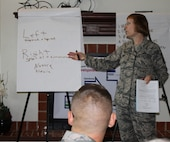 Chief Master Sgt. Martha Roy, co-instructor during the 340th Flying Training Group-hosted Air Force Reserve Command Senior Noncommissioned Officer Leadership Course