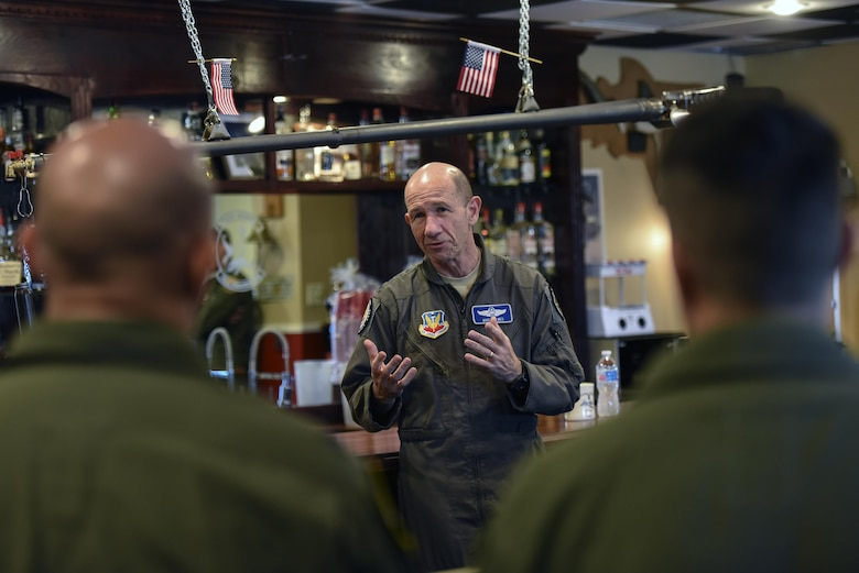Gen. Mike Holmes, commander of Air Combat Command, talks to pilots from the 81st Fighter Squadron and 23d Fighter Group during a visit, Oct. 17, 2017, at Moody Air Force Base, Ga.