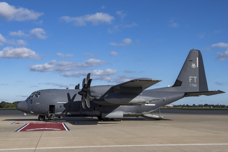 An HC-130J Combat King II from the 71st Rescue Squadron rests on the flightline, Oct. 17, 2017, at Joint Base Langley-Eustis, Va.