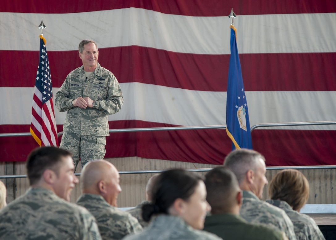 U.S. Air Force Chief of Staff Gen. David L. Goldfein speaks to members of Team Kirtland at Kirtland Air Force Base, N.M., Oct. 20.