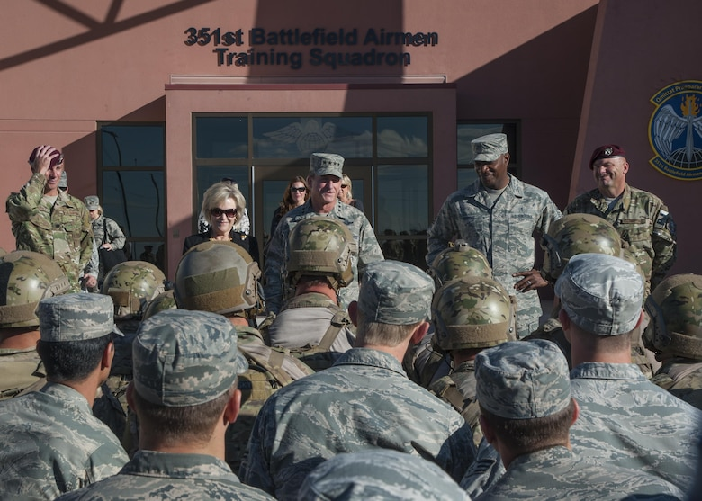U.S. Air Force Chief of Staff Gen. David L. Goldfein, his wife Dawn Goldfein and Chief Master Sergeant of the Air Force Kaleth O. Wright speak with Airmen from the 351st Battlefield Airmen Training Squadron at Kirtland Air Force Base, N.M., Oct. 20.