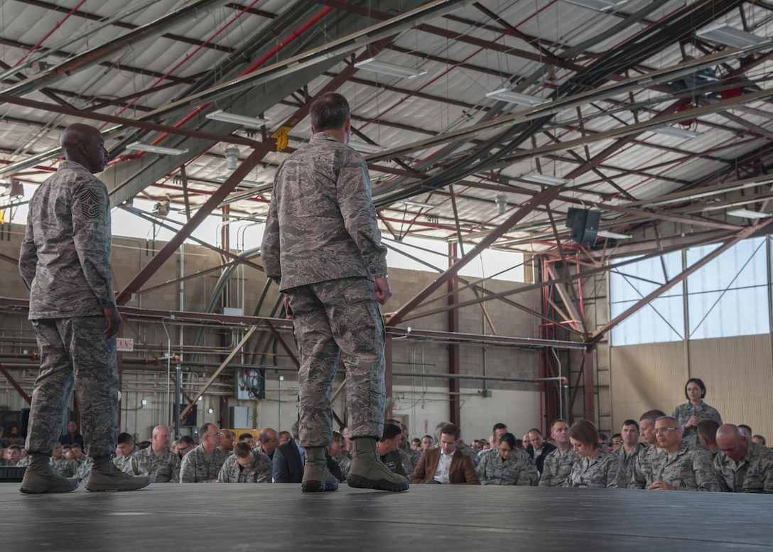 U.S. Air Force Chief of Staff Gen. David L. Goldfein and Chief Master Sergeant of the Air Force Kaleth O. Wright answer questions from members of Team Kirtland at Kirtland Air Force Base, N.M., Oct. 20.