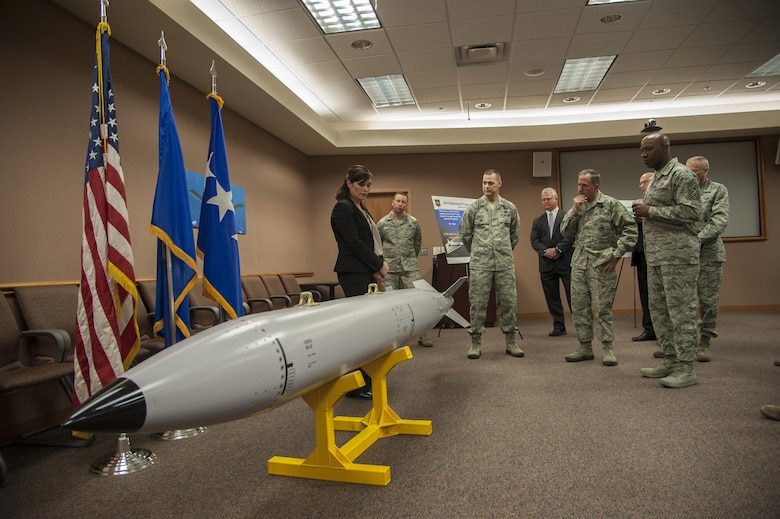 U.S. Air Force Chief of Staff Gen. David L. Goldfein is briefed in the Air Force Nuclear Weapon Center, at Kirtland Air Force Base, N.M., Oct. 19.
