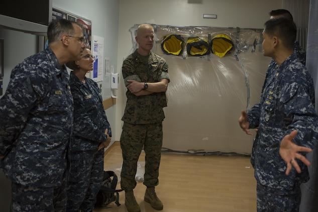 CAMP FOSTER, OKINAWA, Japan—Brig. Gen. Paul J. Rock Jr. speaks to U.S. Naval Hospital Okinawa leadership Oct. 18 during the pandemic influenza isolation exercise aboard Camp Foster, Okinawa, Japan.