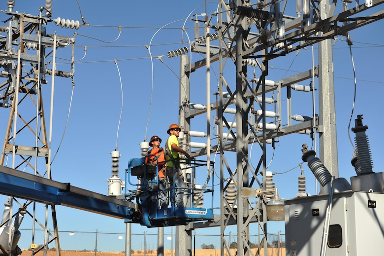 Contractors work on electrical substation renovations at Beale Air Force Base.