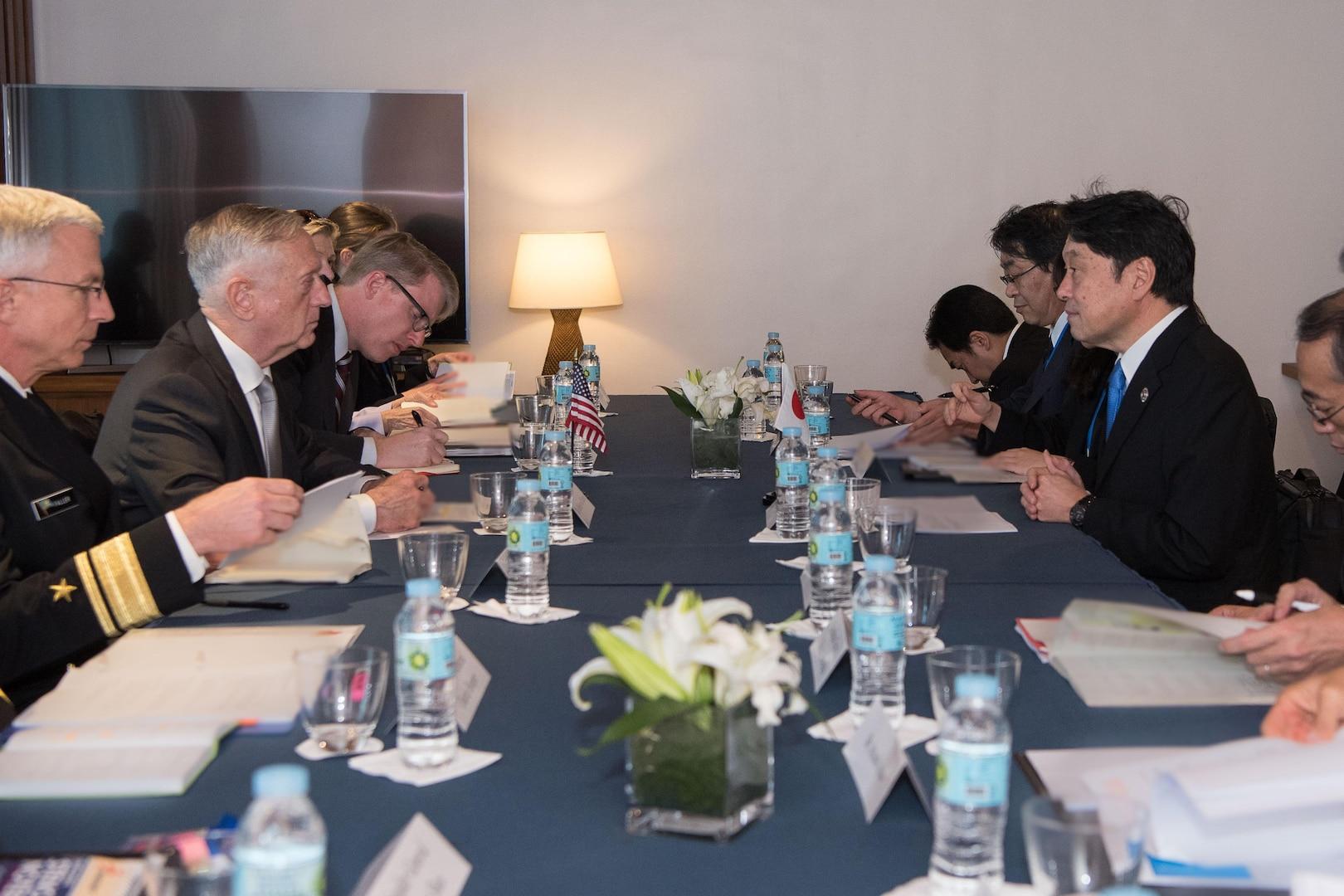 Defense Secretary Jim Mattis meets with the Japanese defense minister.