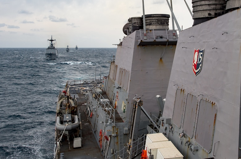 WATERS EAST OF THE KOREAN PENINSULA (Oct. 18, 2017) The forward-deployed Arleigh Burke-class guided-missile destroyer USS Stethem (DDG 63) steams in formation with Republic of Korea (ROK) Navy ships ROKS Munmu the Great (DDH-976), ROKS Kang Won (DD-922) and ROKS Yang Manchun (DDH-973) during Maritime Counter Special Operations Force Exercise 2017.  Stethem, part of Carrier Strike Group 5, is conducting a bilateral training exercise with the ROK Navy designed to increase the readiness of U.S. and ROK forces and maintain stability on the Korean Peninsula.