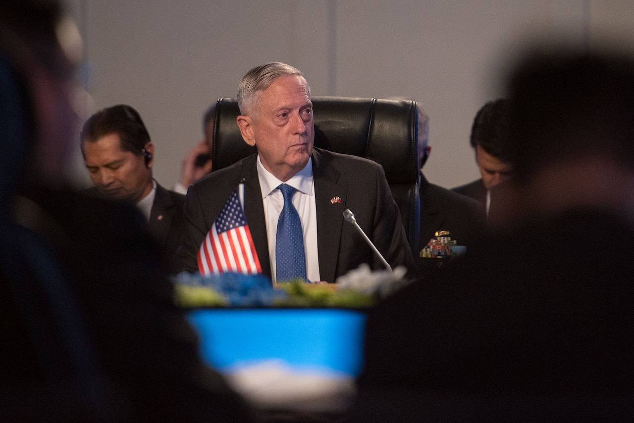 Defense Secretary Jim Mattis attends a meeting in the Philippines.