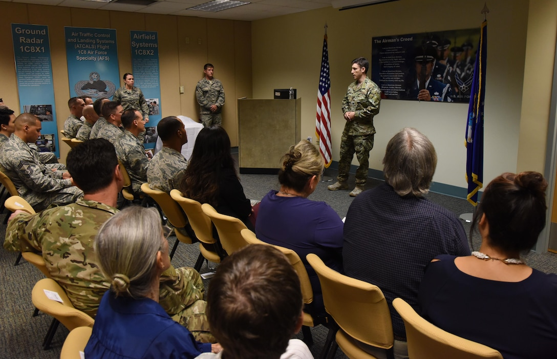 Lt. Col. Randall Harvey, 21st Special Tactics Squadron commander, Pope Field, North Carolina, delivers remarks during a dedication ceremony to honor Staff Sgt. Forrest Sibley at Cody Hall Oct. 20, 2017, on Keesler Air Force Base, Mississippi. Sibley was killed in combat in Afghanistan on Aug. 26, 2015. Sibley, a four-time Bronze Star medal recipient, was a combat controller who received his initial technical training from the 334th Training Squadron here. A training room was dedicated in his memory during the event. (U.S. Air Force photo by Kemberly Groue)