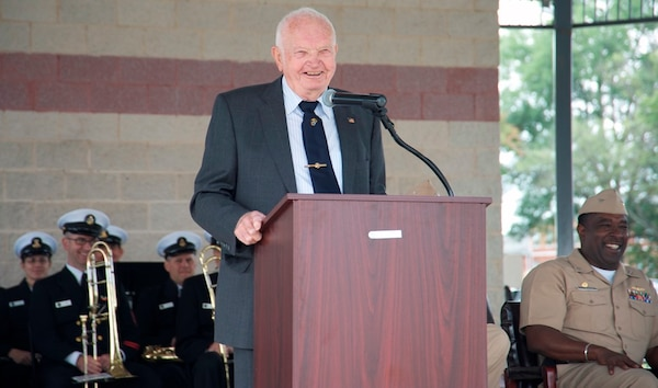 "IMAGE: DAHLGREN, Va. (Oct. 16, 2017) – Jim Colvard – Naval Surface Warfare Center Dahlgren Division Technical Director from 1973 to 1980 – gives his keynote speech before the military and civilian audience gathered to celebrate the Navy base's centennial.  ""Today's problems cannot be solved by yesterday's solutions,"" said Colvard. ""So you've got to be constantly looking at new ways to do things and approach a problem."""