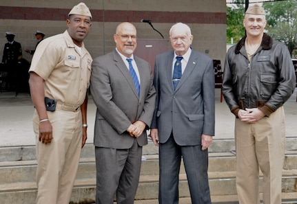 IMAGE: DAHLGREN, Va. (Oct. 16, 2017) – Capt. Godfrey 'Gus' Weekes, John Fiore, Jim Colvard, and Capt. Michael O'Leary are pictured at the Dahlgren Centennial commemoration kickoff ceremony. It was the first of a series of events and activities scheduled over the next year to celebrate the significant role Dahlgren has played in bolstering the nation's defense. Weekes is the Naval Surface Warfare Center Dahlgren Division (NSWCDD) commanding officer; Fiore is the NSWCDD technical director; Colvard was the NSWCDD technical director from 1973 to 1980; and O'Leary is the NSA South Potomac commanding officer.