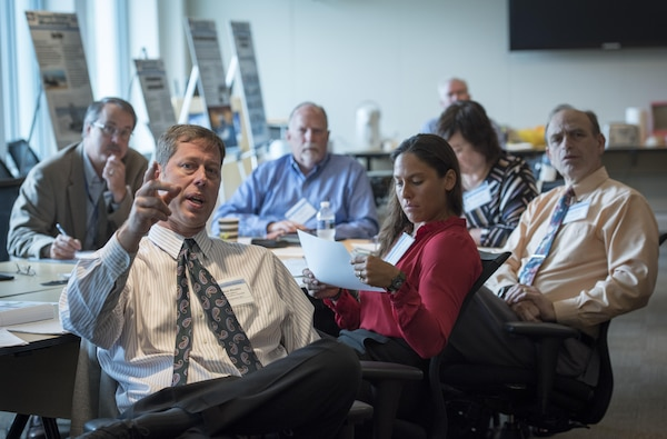 Rick Rhodes (front) from the Office of the Chief of Naval Operations (OPNAV) Air Warfare (N98), participates in the Deputy Assistant Secretary of the Navy for Unmanned Systems (DASN(UxS)) Facilities Roadmap workshop Sept. 19, 2017, at Naval Surface Warfare Center, Carderock Division in West Bethesda, Maryland. (U.S. Navy photo by Monica McCoy/Released)