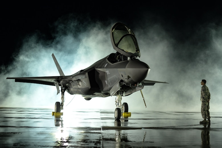 F-35 on the runway at night