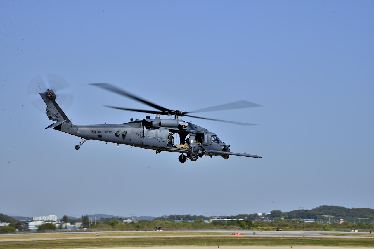 An HH-60 Pave Hawk helicopter assigned to the 33rd Rescue Squadron from Kadena Air Base, Japan, prepares for a combat search and rescue mission during exercise Pacific Thunder.