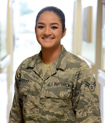 Airman 1st Class Diandra Velasquez, a medical technician with the 72nd Medical Operations Squadron, exemplifies the Air Force's Core Values and is proud of her Hispanic culture and traditions. Airman Velasquez is being highlighted during National Hispanic Heritage Month, which is observed from Sept. 15 to Oct. 15.