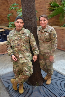 Army Capt. John Arroyo and Army 1st Lt. Katie Ann Blanchard pose outside Brooke Army Medical Center on Joint Base San Antonio-Fort Sam Houston, Texas.