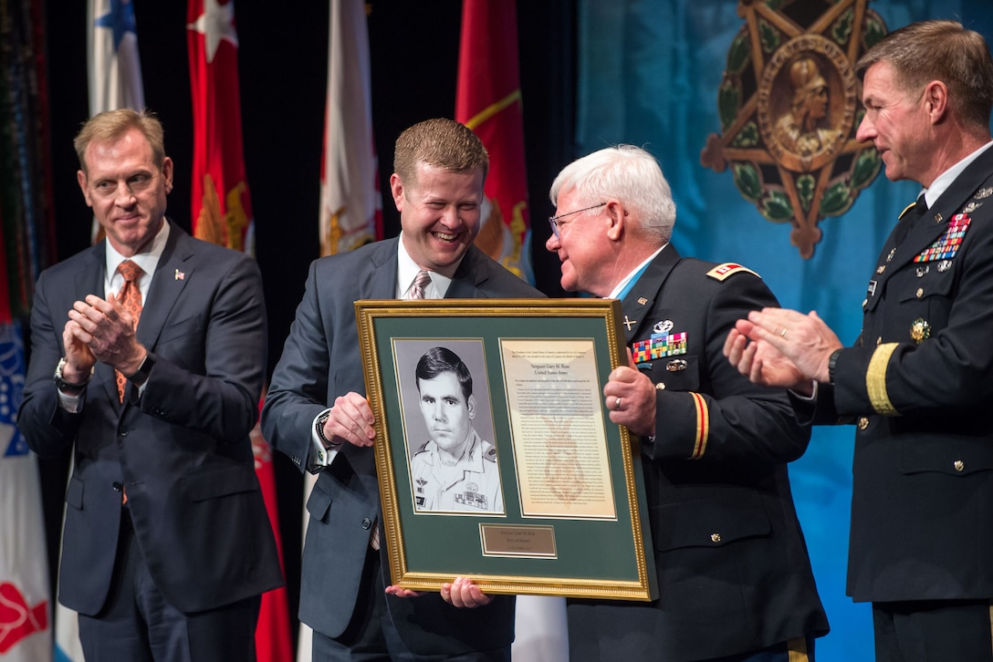 Retired Army Capt. Gary M. Rose, a Medal of Honor recipient, is inducted into the Pentagon's Hall of Heroes.