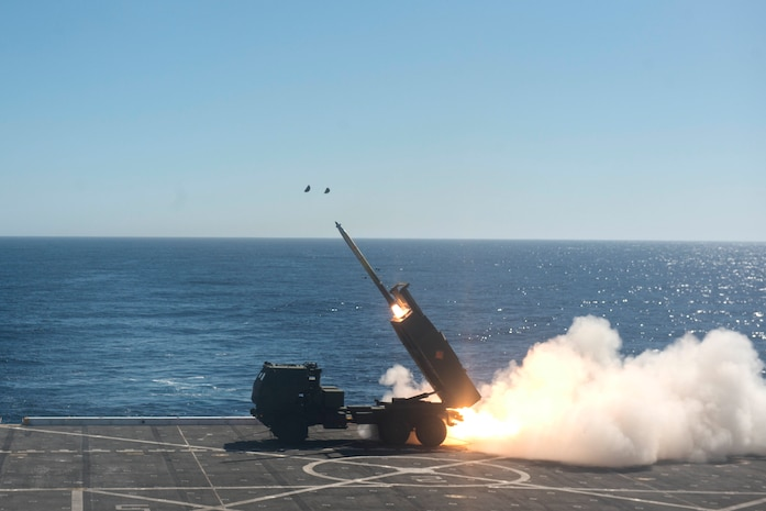 High Mobility Artillery Rocket System (HIMARS) is fired from the flight deck of the San Antonio-class amphibious transport dock ship USS Anchorage