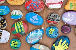 An array of rocks painted by volunteers as part of Thurmond Lake's National Public Lands Day event, Sept. 30. The rocks are being placed around Thurmond's public areas for visitors to find and share on social media.