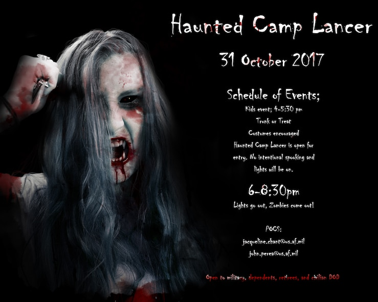 Camp Lancer Graphic V3) Haunted Camp Lancer makes its return to Ellsworth Air Force Base, S.D., for its second year on Oct. 31, 2017. The one-night-only event offers activates for all age groups, including Trunk or Treat and haunted attractions with various spooky themes. (U.S. Air Force graphic by Staff Sgt. Sarah M. Denewellis)