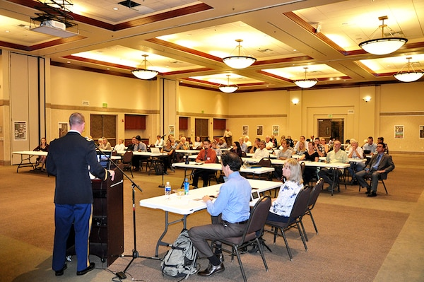 Col. Kirk Gibbs, commander of the U.S. Army Corps of Engineers Los Angeles District, kicks Aliso Creek Mainstem Ecosystem Restoration Study public meeting held Oct. 17 in Laguna Hills.